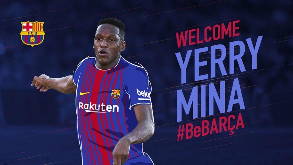 El defensa colombiano Yerry Mina fue confirmado como nuevo refuerzo del Barcelona; viene del Palmeiras brasileño