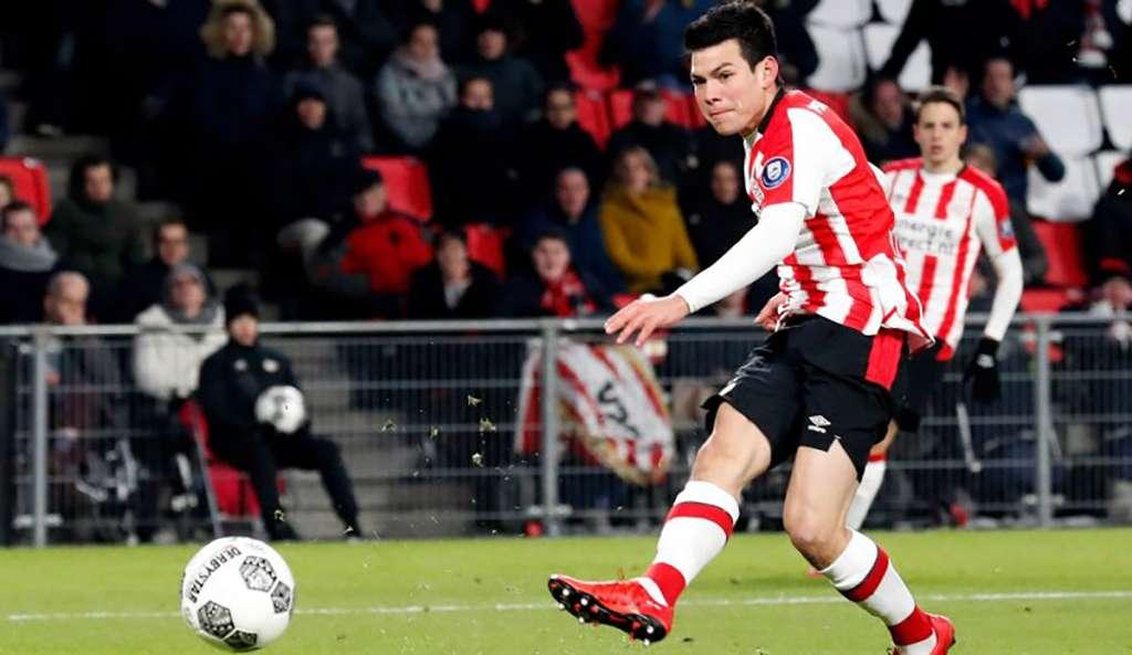 """Hirving """"Chucky"""" Lozano llegó a 13 anotaciones al marcar el gol con el que el PSV Eindhoven venció 1-0 al Excelsior, dentro de la fecha 22 de la Eredivisie holandesa"""