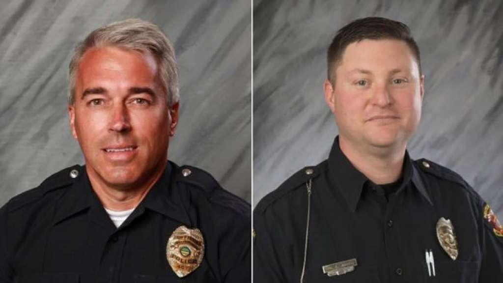 Los oficiales Eric Joering y Anthony Morelli respondieron a una llamada de posible violencia doméstica y fueron recibidos a tiros en Westerville