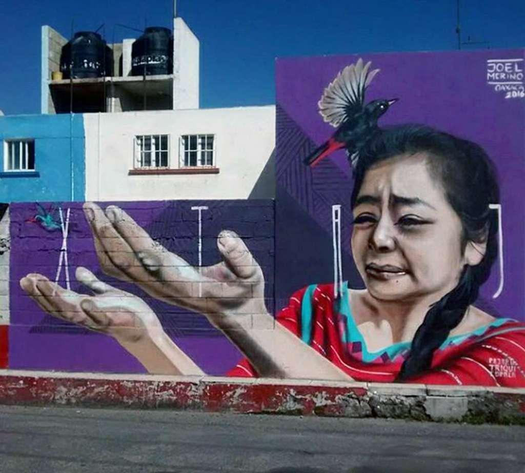 80730004. Querétaro, 30 Jul 2018 (Notimex- Especial).- Más allá de su pasión por la pintura, es la lucha por exaltar el trabajo de su gente, su pueblo y las tradiciones, así como el pasado ancestral, llevarán a Joel Merino a plasmar en murales la cultura triqui por cinco países de Europa.  NOTIMEX/FOTO/ESPECIAL/COR/ACE/