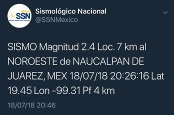 Se registra un sismo en Naucalpan, Estado de México