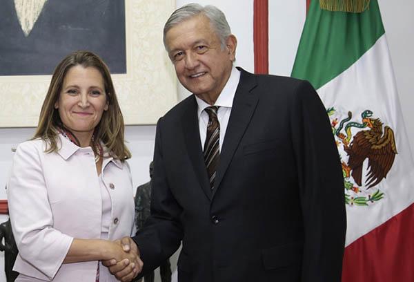 López Obrador dialoga con canciller canadiense, Chrystia Freeland