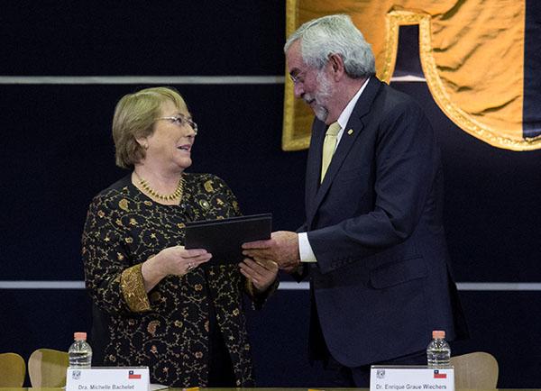 Michelle Bachelet encabezó la cátedra internacional por los Derechos Humanos y la Paz. FOTO: CUARTOSCURO