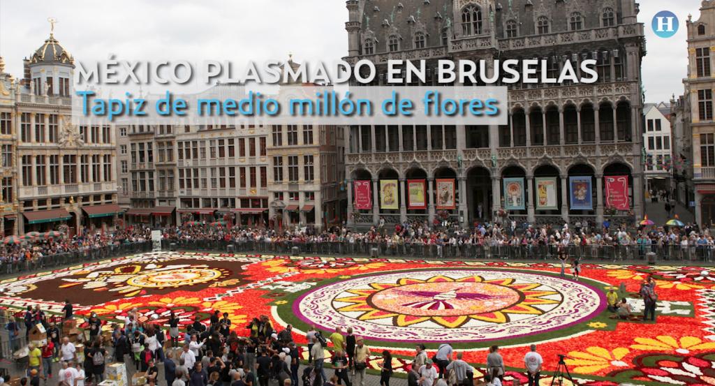 Tapiz de medio millón de flores: une a México y Bélgica enBruselas