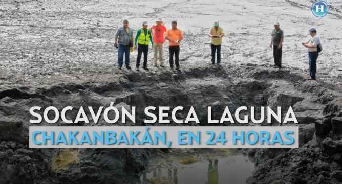 Socavón seca laguna Chakanbakán en 24 horas