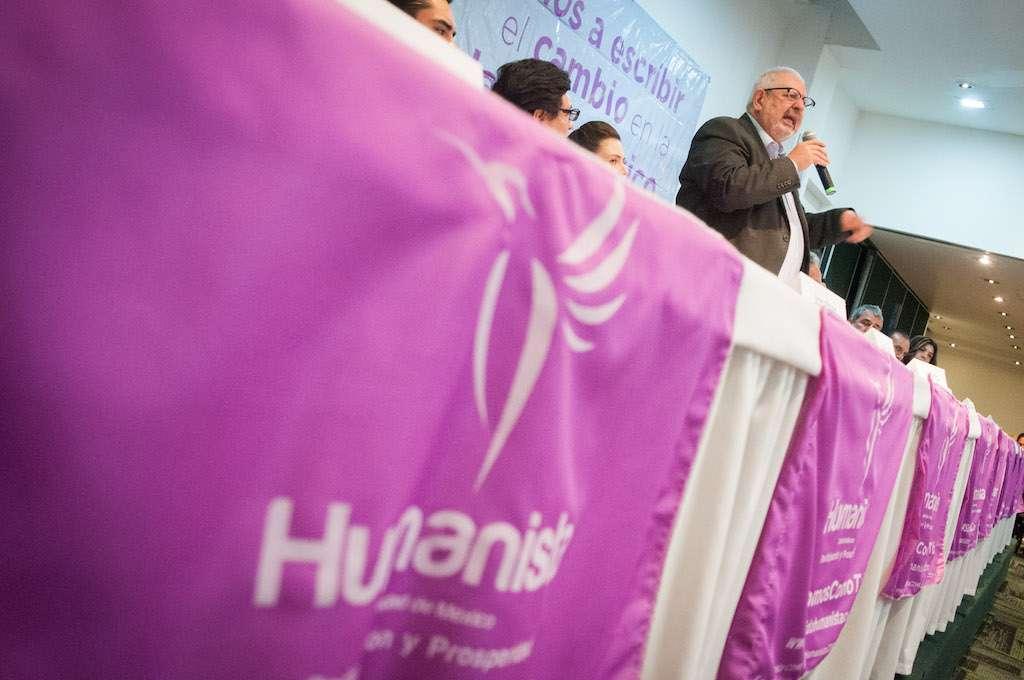Partido Humanista en un evento de campaña con el excandidato Marco Rascón. FOTO: DIEGO SIMÓN SÁNCHEZ /CUARTOSCURO.COM
