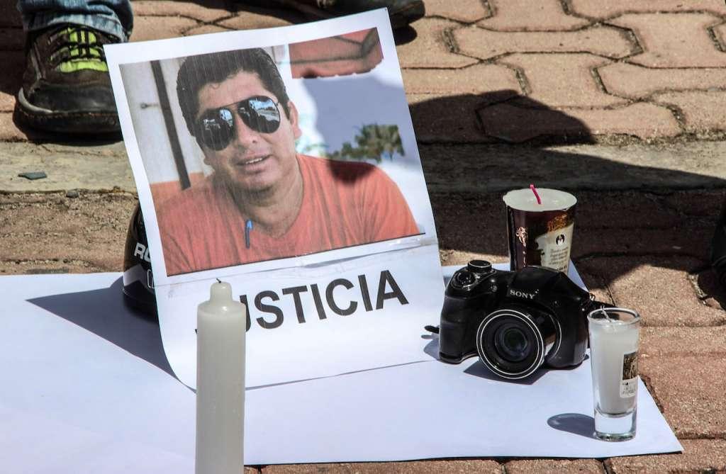 Protestas por la muerte del periodista asesinado José Guadalupe Chan Dzib en Playa del Carmen, Q.R. FOTO: CUARTOSCURO.COM