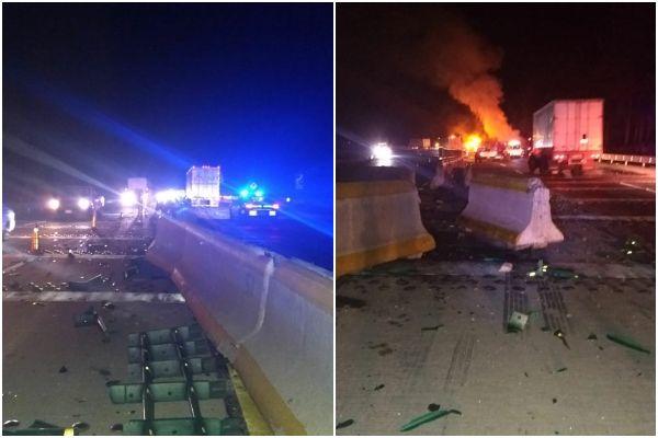 Cuatro personas resultaron lesionadas del choque de dos tráilers en la Autopista México-Puebla. FOTOS: ESPECIAL