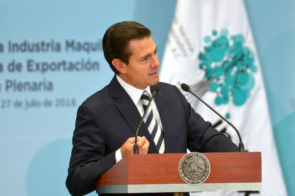 """Peña Nieto felicitó a los equipos negociadores de los dos países y al equipo del presidente electo por haber hecho un trabajo """"unificado"""". FOTO: NOTIMEX"""