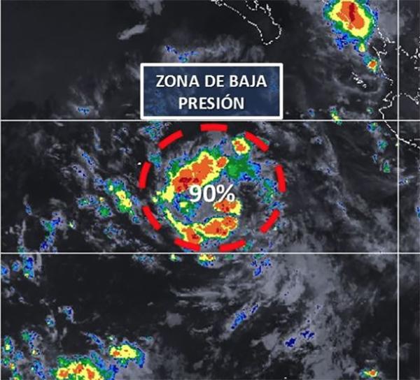 La zona de baja presión se ubica a 930 kilómetros al sur de Cabo San Lucas. FOTO: CONAGUA