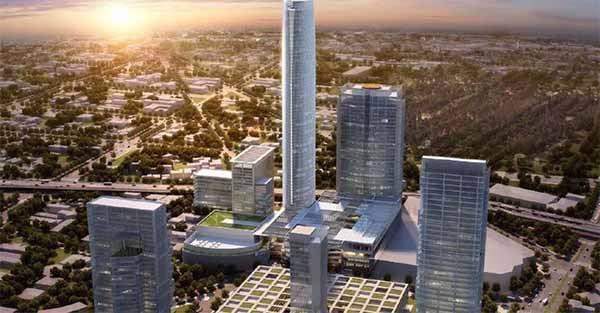 La Torre Mitikah se construye para alcanzar los 267.3 metros de altura, con 67 pisos. FOTO: @TCHbyMitikah