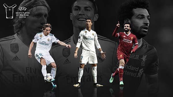 Cristiano Ronaldo, Luka Modric y Mohamed Salah son los nominados. FOTO: @ChampionsLeague