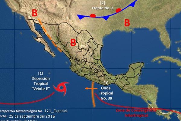 El occidente del país se verá afectado por esta tormenta. FOTO: CONAGUA