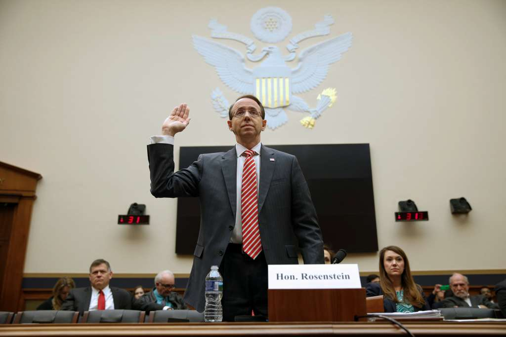 FILE PHOTO: Deputy U.S. Attorney General Rod Rosenstein testifies to the House Judiciary Committee hearing on oversight of the Justice Department on Capitol Hill in Washington, U.S., December 13, 2017.   REUTERS/Joshua Roberts/File Photo