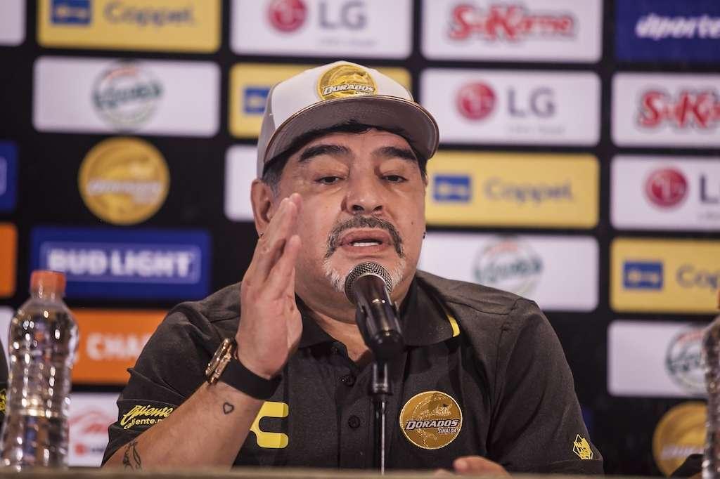 Diego Armando Maradona es presentado como  nuevo director técnico de Dorados de Sinaloa desde las instalaciones del estadio Banorte. Foto: Mexsports.