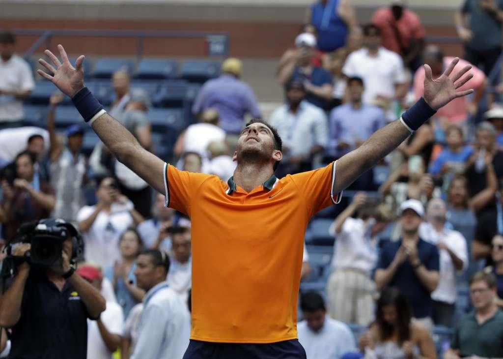 Juan Martín del Potro venció a John Isner 6-7 6-3 7-6 6-2 y está entre los cuatro mejores del Us Open .Foto: AP