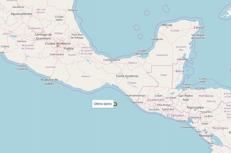 Sismo de 5.0 suroeste de Pijijiapan, Chiapas Foto: SSN