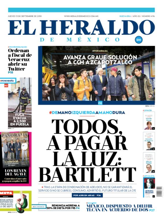 Portada El Heraldo de México 13 de septiembre de 2018