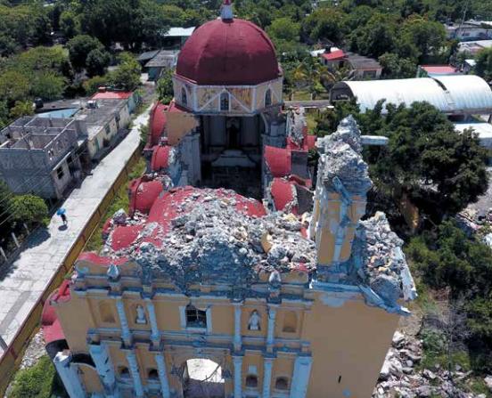 La iglesia de Atzala no ha mostrado avances en la reconstrucción. FOTO: ENFOQUE