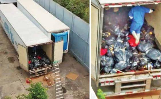 En redes sociales circularon imágenes en las que se muestra a los cadáveres amontonados y en bolsas de plástico. FOTO: ESPECIAL