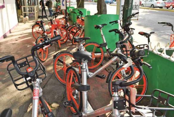 . Las bicis dejadas junto a los macetones impiden el paso