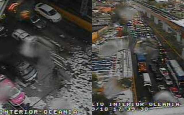 La circulación en Circuito Interior a la altura de avenida Oceanía fue cerrada. Foto: @OVIALCDMX