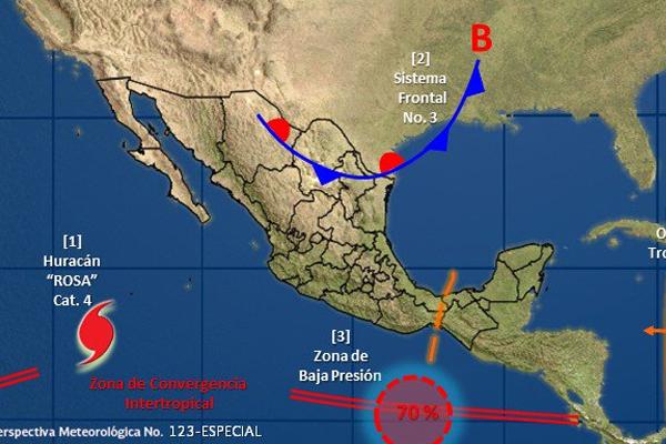 Su desplazamiento actual es hacia el oeste a 11 kilómetros por hora. FOTO: CONAGUA