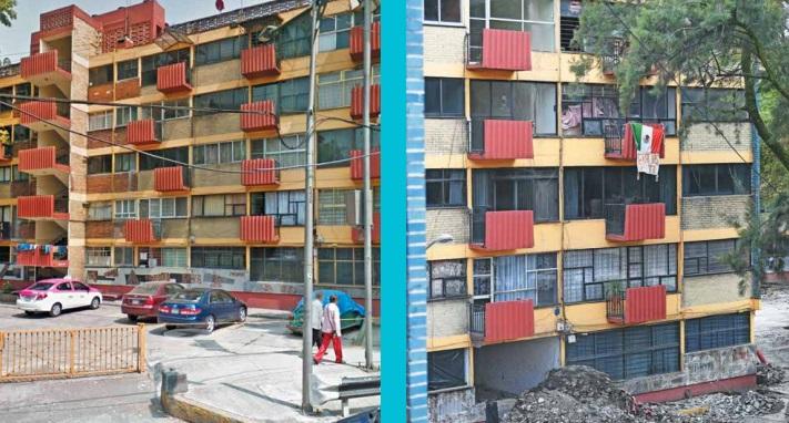 EL MULTIFAMILIAR DE TLALPAN. El edificio 1C del conjunto urbano ubicado en las calles de Álvaro Gálvez y Fuentes, y Tlalpan, colapsó y de cinco pisos sólo quedó la planta baja. Se dañaron las otras nueve torres. El 7 de junio de este año se creó un fideicomiso público para reconstruir y rehabilitar 36 viviendas. Las obras apenas iniciarán, aunque el Gobierno de la CDMX prometió que todo se arreglaría en un año. La gente vive sobre escombros