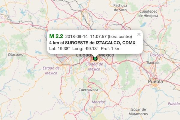 El epicentro se registró cerca de la Delegación Iztacalco