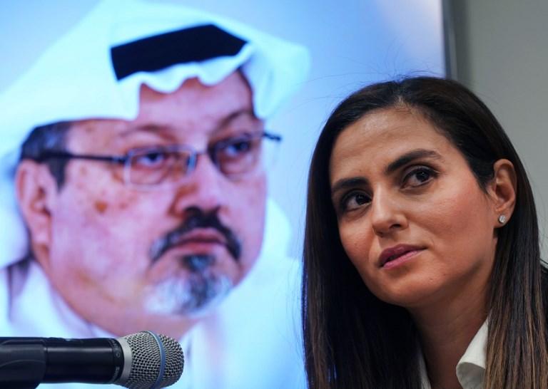 Sherine Tadros, jefa de la Oficina de Amnistía Internacional de Nueva York (ONU), habla durante una conferencia de prensa en las Naciones Unidas. Foto: AFP.