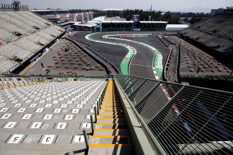 Vista del hipódromo de Hermanos Rodríguez en la Ciudad de México antes del Gran Premio de Fórmula 1 . Foto: AFP