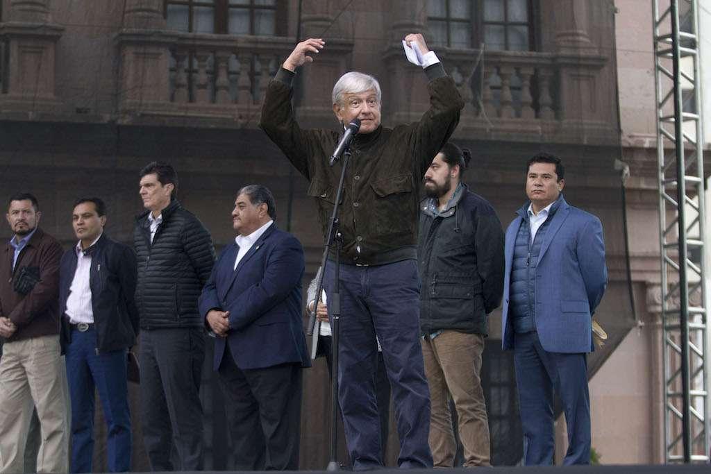 López Obrador en mitin la tarde de este jueves en Saltillo, Coahuila. Foto: Cuartoscuro.com