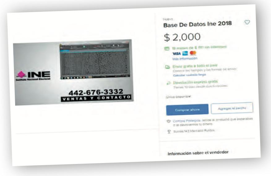 Venden en 2 mil pesos lista del INE