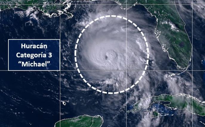 Michael se fortaleció a categoría 3 en su avance sobre las cálidas aguas del Golfo de México . FOTO: ESPECIAL