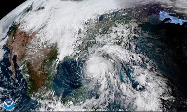 Imagen satelital Geo-Color del huracán Michael que se aproxima a la costa de los EU. Foto: EFE