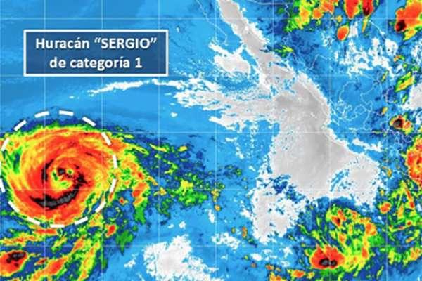 El huracán se localiza a 2 mil 90 kilómetros por hora con rachas de hasta 185 km/h al oeste-suroeste de Cabo San Lucas.  FOTO: CONAGUA