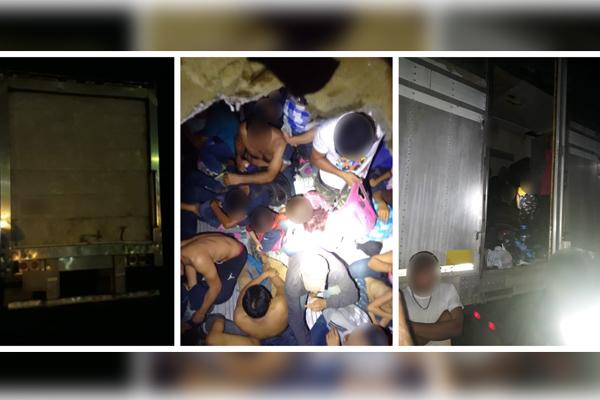 Viajaban hacinados en la caja de un tráiler. Foto: @PoliciaFedMx