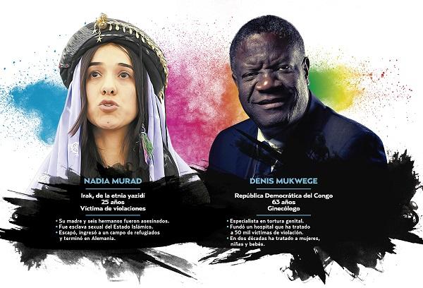 Fueron reconocidos ayer por su lucha contra la violencia sexual en conflictos armados. Foto: Especial