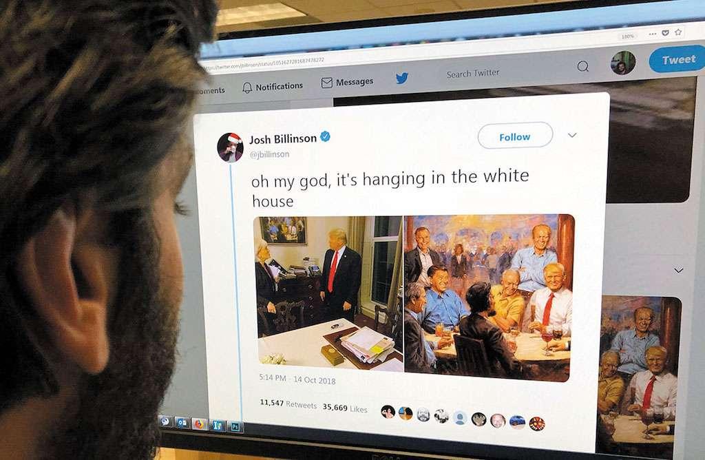 La obra donde se ve a Trump es del artista, Andy Thomas. Foto: AFP