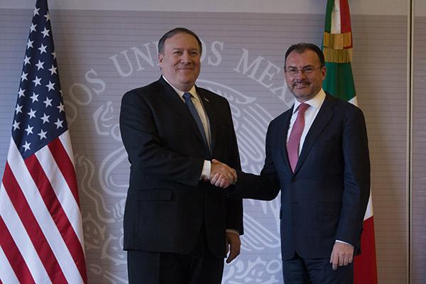 Mike Pompeo, secretario de Estado de los Estados Unidos y Luis Videgaray, secretario de Relaciones Exteriores.  FOTO: CUARTOSCURO