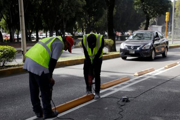 Por ahorase está trabajando en el carril con sentido a la autopista México-Puebla. Foto: Agencia Enfoque