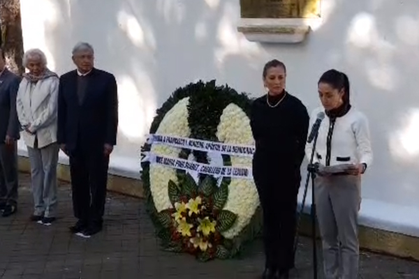 López Obrador y Claudia Sheinbaum rinden homenaje a Madero y Pino Suárez