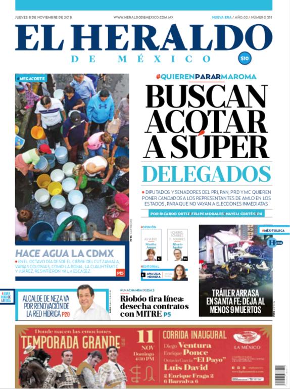 Portada del jueves 9 de noviembre de 2018 / El Heraldo de México