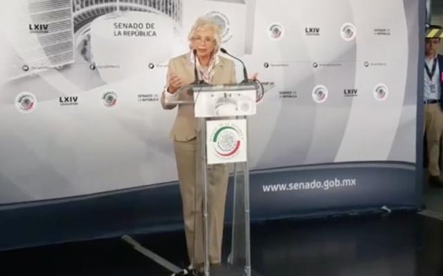 Conferencia de prensa de la senadora Olga Sánchez sobre su iniciativa para despenalizar el uso de la mariguana