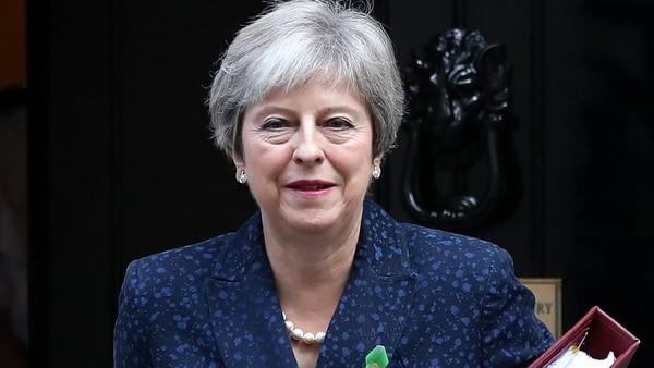 Theresa May informó ayer del trato en el número 10 de Downing Street. Foto: Reuters.