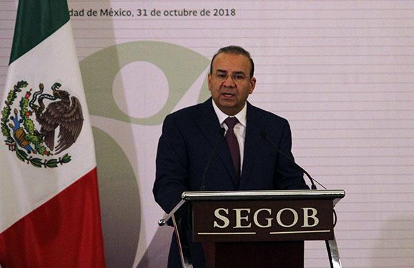 Alfonso Navarrete Prida,  secretario de Gobernación, en conferencia de prensa. FOTO: NOTIMEX