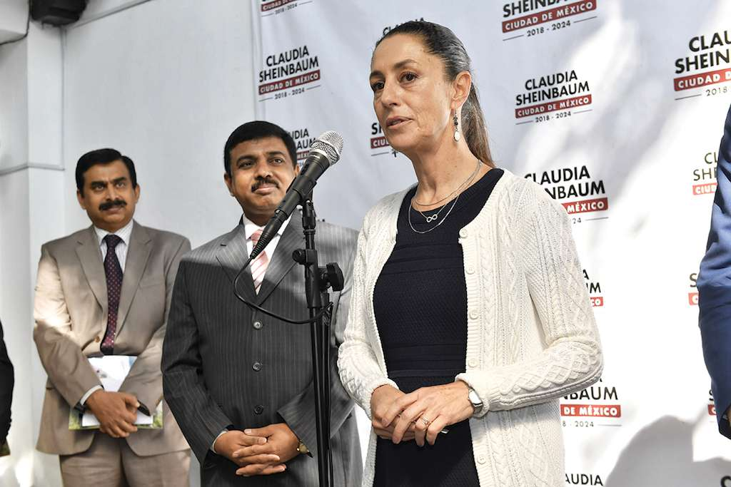 Claudia Sheinbaum y Muktesh Kumar se reunieron ayer. Foto: Edgar López / El Heraldo de México