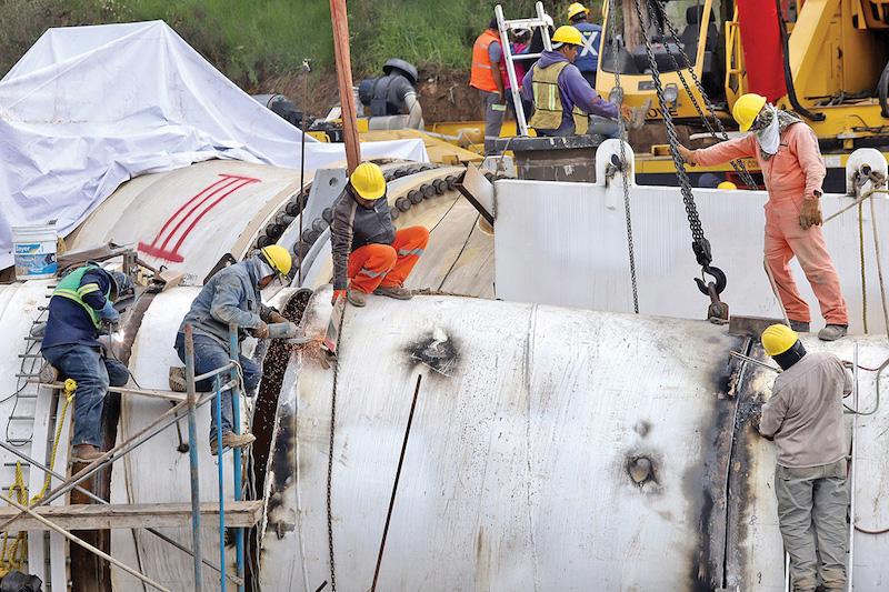 Filtraciones de la K invertida que conecta las líneas 1 y 2, retrasaron los trabajos. Foto:  VÍCTOR GAHBLER / EL HERALDO DE MÉXICO