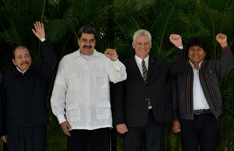 Daniel Ortega, Nicolás Maduro, Miguel Díaz-Canel y Evo Morales, ayer en Cuba. Foto: AFP
