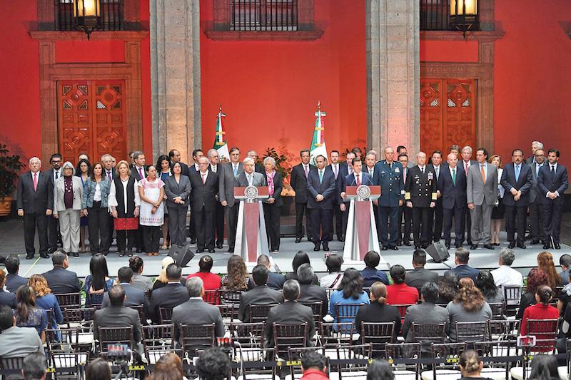 En Palacio Nacional, el 20 de agosto, la administración saliente dio la bienvenida al nuevo Gobierno de la República. Foto: Pablo Salazar Solís / El Heraldo de México